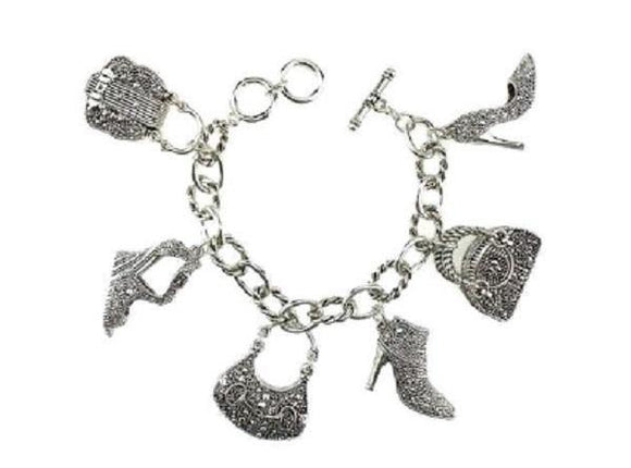 Silver Filigree 2 Sided Handbag and Shoes Fashion Theme Toggle Charm Bracelet ( 9060 AS )