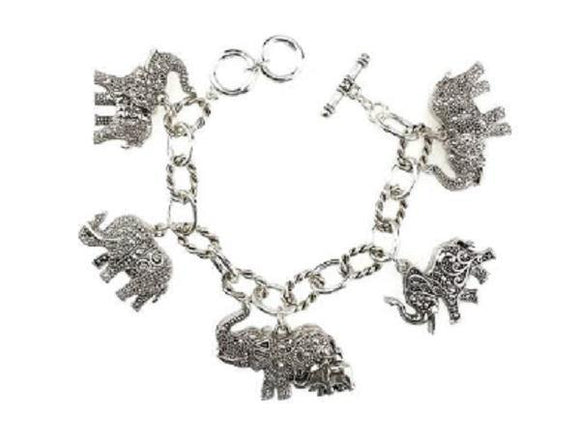 Silver Filigree 2 Sided Elephant Toggle Charm Bracelet ( 9062 AS )