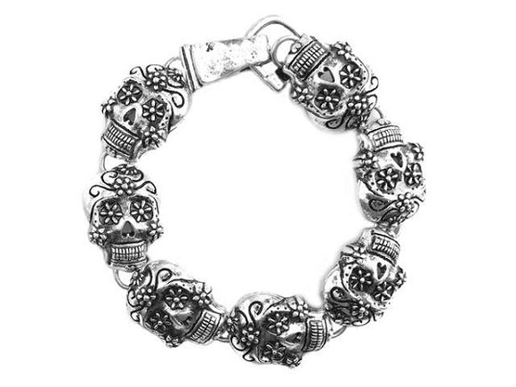 Burnish Silver Sugar Skull Magnetic Bracelet ( 9208 )