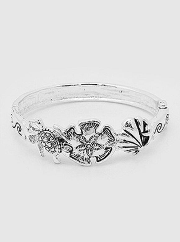 Silver Hinge Bangle Sea Life Theme Bracelet ( 9365 )