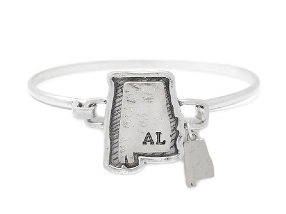 Silver Alabama State Map Wire Bangle Bracelet ( 9566 )