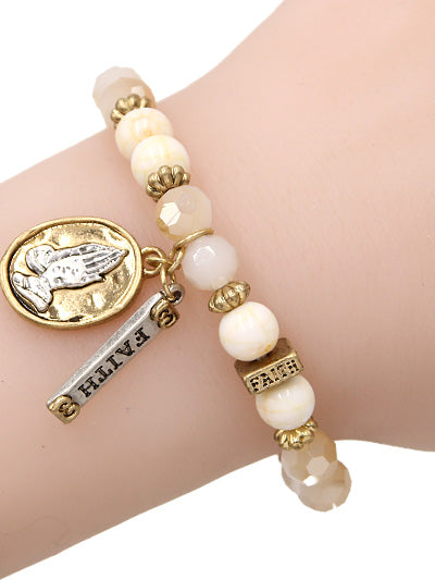 Crystal and Stone Beaded Stretch Bracelet with Prayer Hands and