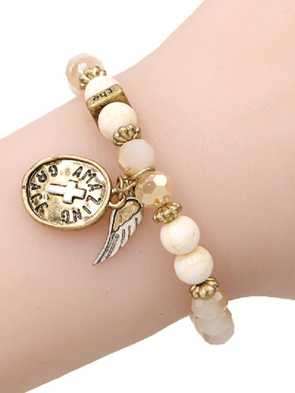 Crystal and Stone Beaded Stretch Bracelet with Cross and