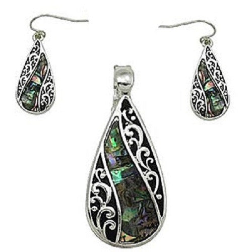 Magnetic Teardrop Filigree Abalone Pendant with Earrings ( 0951 )