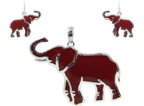 Red Elephant Pendant and Earrings with Silver Background ( 1447 )