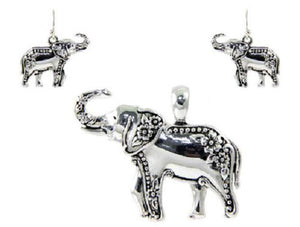 Silver Elephant Pendant with Matching Dangling Earrings