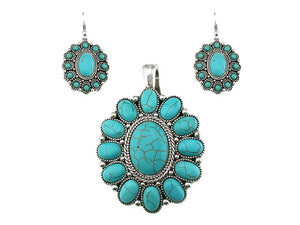 Turquoise Oval Magnetic Pendant and Earrings Set