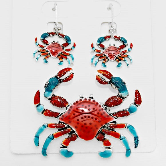 Red and Blue Magnetic Crab Pendant Set with Earrings
