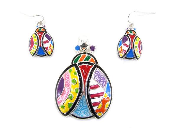 Multi Color Ladybug Pendant with Matching Earrings ( 0835 )