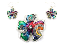 Multi Color Flower Shape Pendant with Matching Earrings ( 0872 )