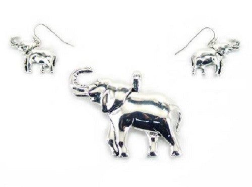 Silver Hammered Elephant Pendant with Matching Dangling Earrings