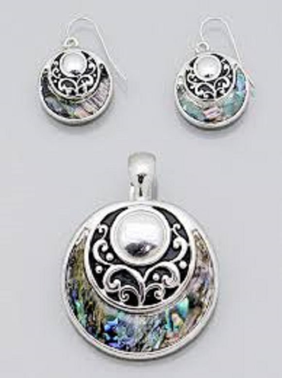 Round Abalone and Filigree Magnetic Pendant with Matching Dangle Earrings ( 0950 )