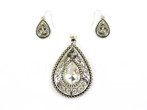 Magnetic Silver Teardrop Pendant with Matching Dangling Earrings ( 0976 )