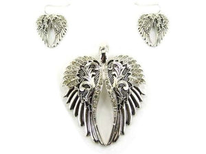 Magnetic Silver and Clear Rhinestone Wings Pendant with Earrings