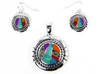 Multi Color Round Magnetic Pendant with Matching Earrings ( 1095 )