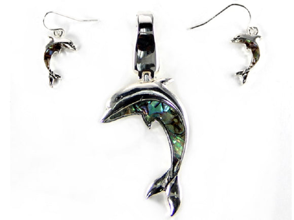 Abalone Dolphin Pendant and Earrings Set ( 1109 )