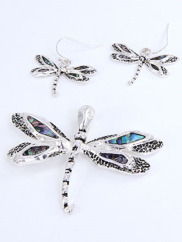 Dragonfly Abalone Magnetic Pendant with Matching Dangle Earrings ( 1230 )
