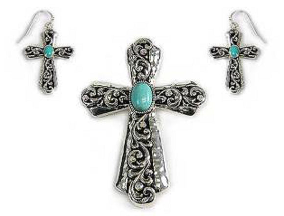 Turquoise Filigree Design Cross Pendant with Matching Earrings ( 1306 )