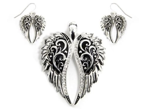 Magnetic Silver Rhinestone Filigree Wings Pendant with Earrings