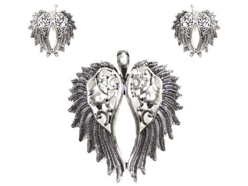 Magnetic Silver Cut Out Wings Pendant with Earrings