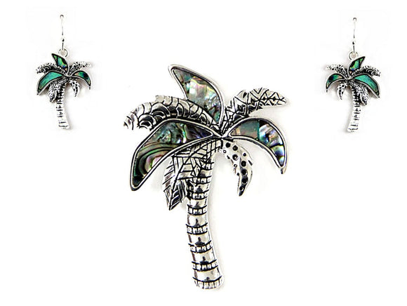 Abalone Palm Tree Pendant and Earrings Set ( 1438 )