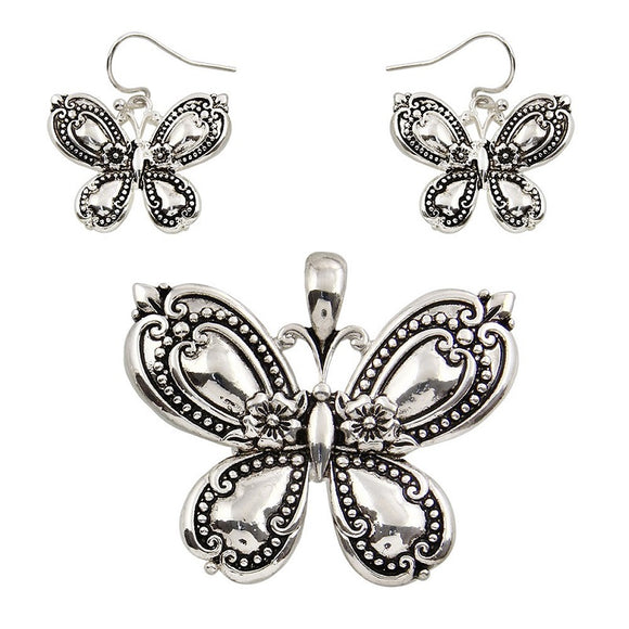 Silver Spoon Design Butterfly Pendant with Matching Earrings ( 1455 )