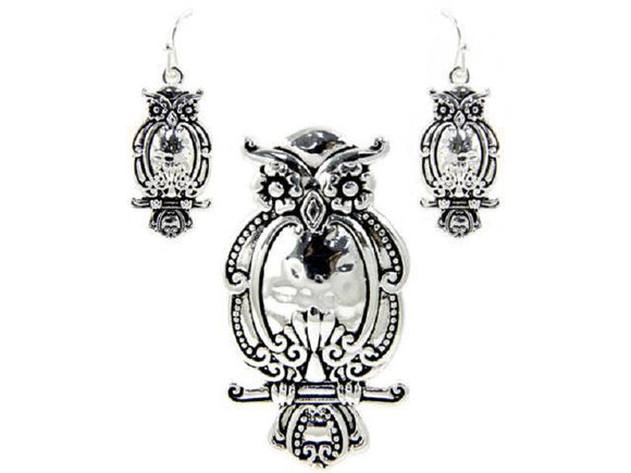 Silver Spoon Design Owl Pendant with Matching Earrings ( 1465 )