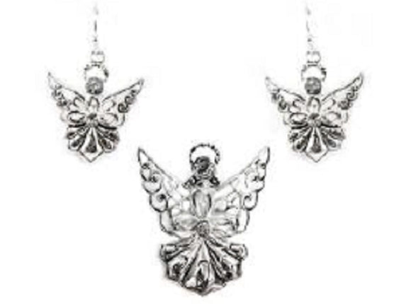 Silver Angel Magnetic Pendant with Matching Dangle Earrings ( 1501 )