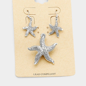 Antique Silver Looking Starfish Magnetic Pendant Set ( 1579 )
