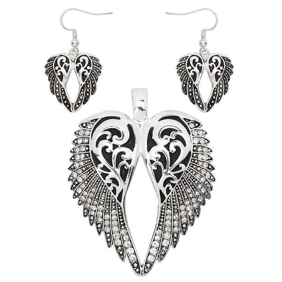 Silver Rhinestone Filigree Wing Theme Magnetic Pendant with Matching Dangling Earrings ( 1594 )