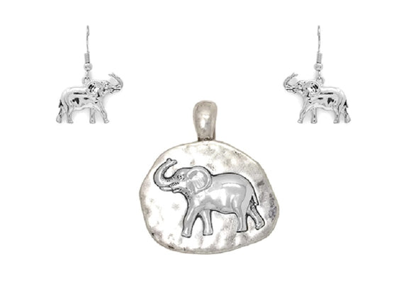 Matte Silver Elephant Magnetic Pendant with Matching Dangle Earrings ( 1624 )