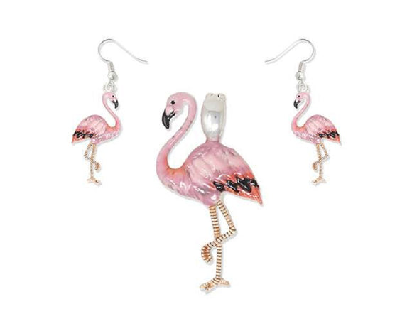 Pink Flamingo Magnetic Pendant with Matching Dangle Earrings ( 1633 )