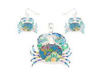Blue Crab Epoxy Pendant with Matching Dangle Earrings ( 1637 )