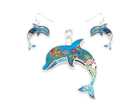 Blue Dolphin Epoxy Pendant with Matching Dangle Earrings ( 1639 )