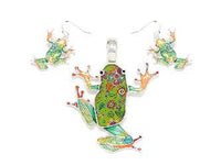 Green Frog Epoxy Pendant with Matching Dangle Earrings ( 1638 )