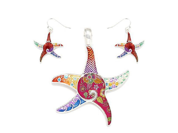 Multi Color Starfish Epoxy Pendant with Matching Dangle Earrings ( 1637 )