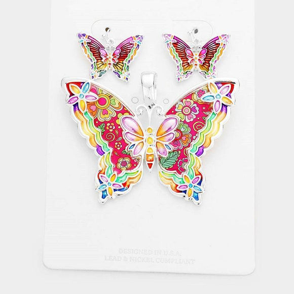 Red Multi Color Butterfly Epoxy Pendant with Matching Dangle Earrings ( 1642 )