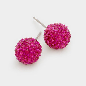 Fuchsia Pink 10mm Rhinestone Ball Stud Earrings ( 3192 )