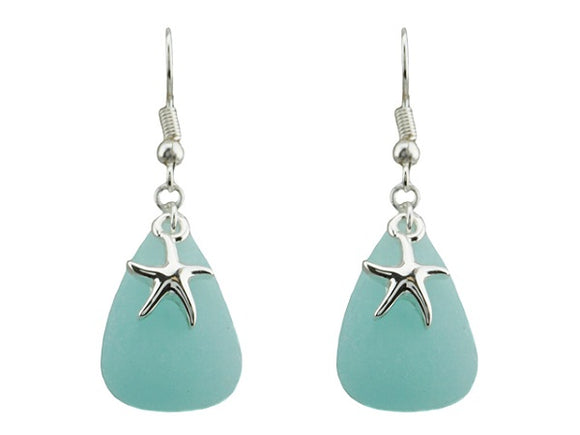 Green Turquoise Triangle Earrings with Sea Life Theme Starfish Dangle Earrings ( 1744 )