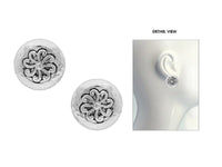 SILVER ROUND CIRCLE CLIP ON EARRINGS HAMMERED ( 3249 )