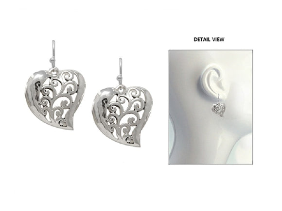 SILVER DANGLING HEART EARRINGS FILIGREE ( 3457 )