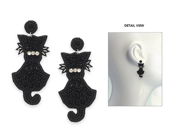 BLACK BEAD CAT EARRINGS ( 3649 SMX )