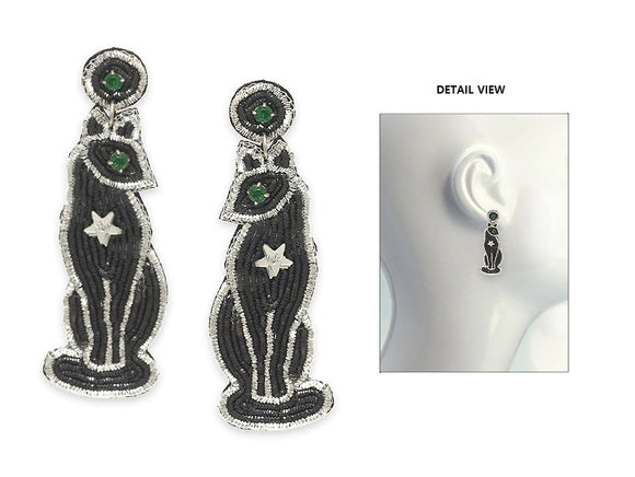 SILVER BLACK BEAD CAT EARRINGS ( 3650 SMX )