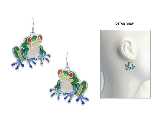 SILVER FROG EARRINGS ( 3653 SMX )