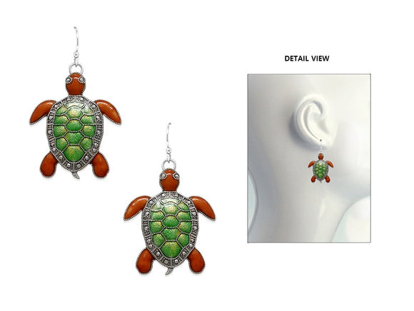 SILVER TURTLE BROWN GREEN EARRINGS ( 3690 ASMX )