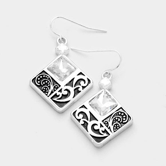 Filigree and Stone Square Dangle Earrings