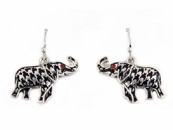 Houndstooth Elephant Dangling Earrings with Red Rhinestone Eyes ( 1534 HB )