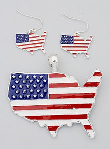 Red, White and Blue United States Pendant with Matching Earrings