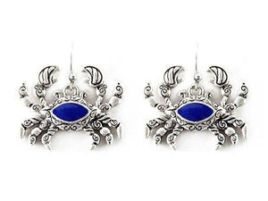 Silver and Blue Dangle Crab Earrings