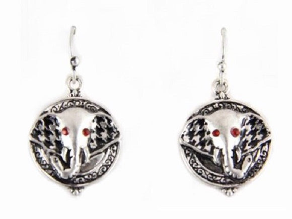 Round Houndstooth Burnish Silver Elephant Head Dangling Earrings ( 1535 )